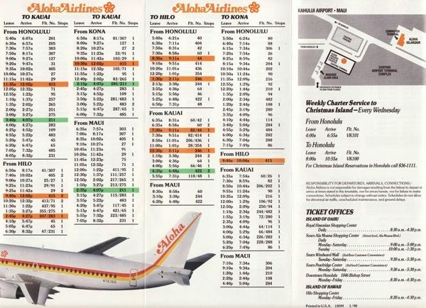 Aloha timetable 1990 2